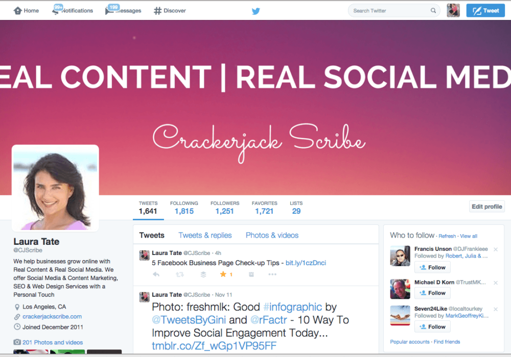 Crackerjack Scribe Social Media and Content Twitter Page