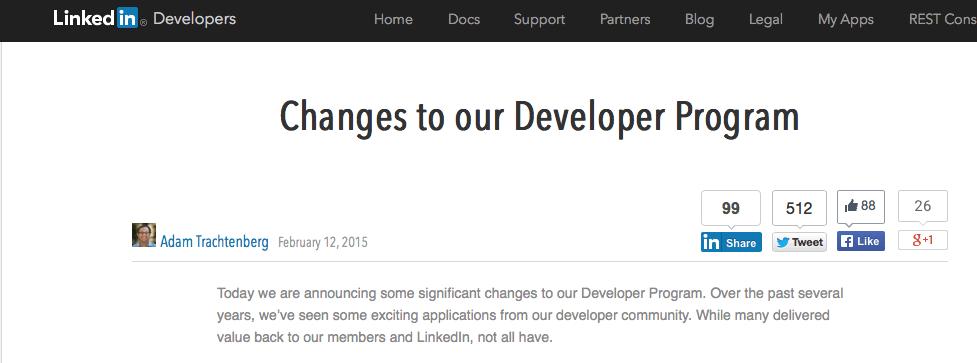 LinkedIn limits API usage