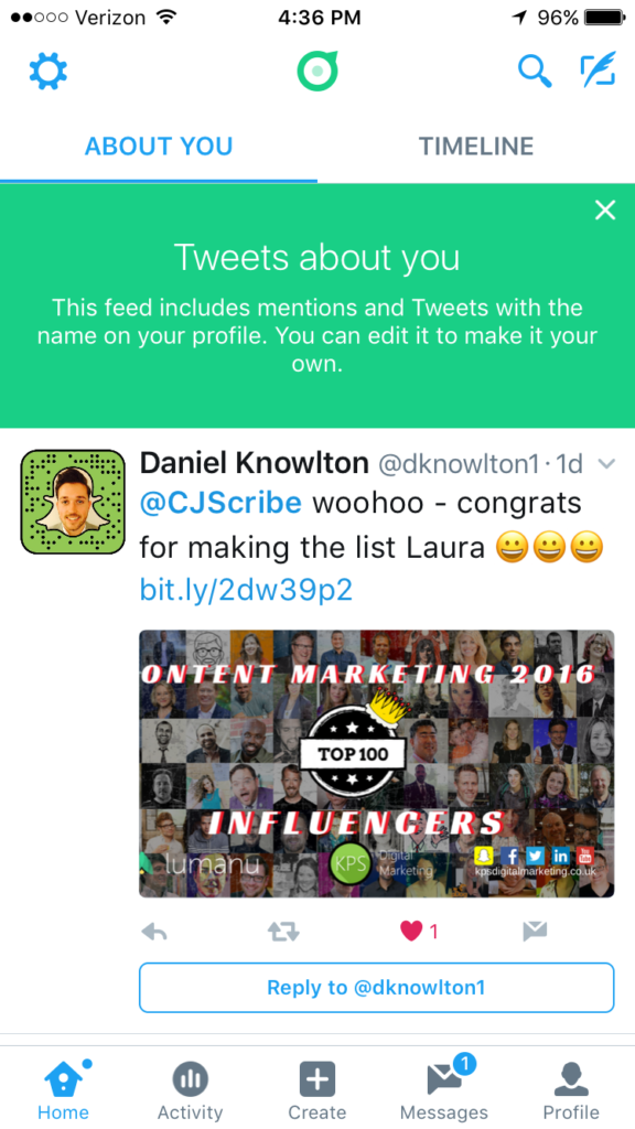 Social media app Twitter Dashboard