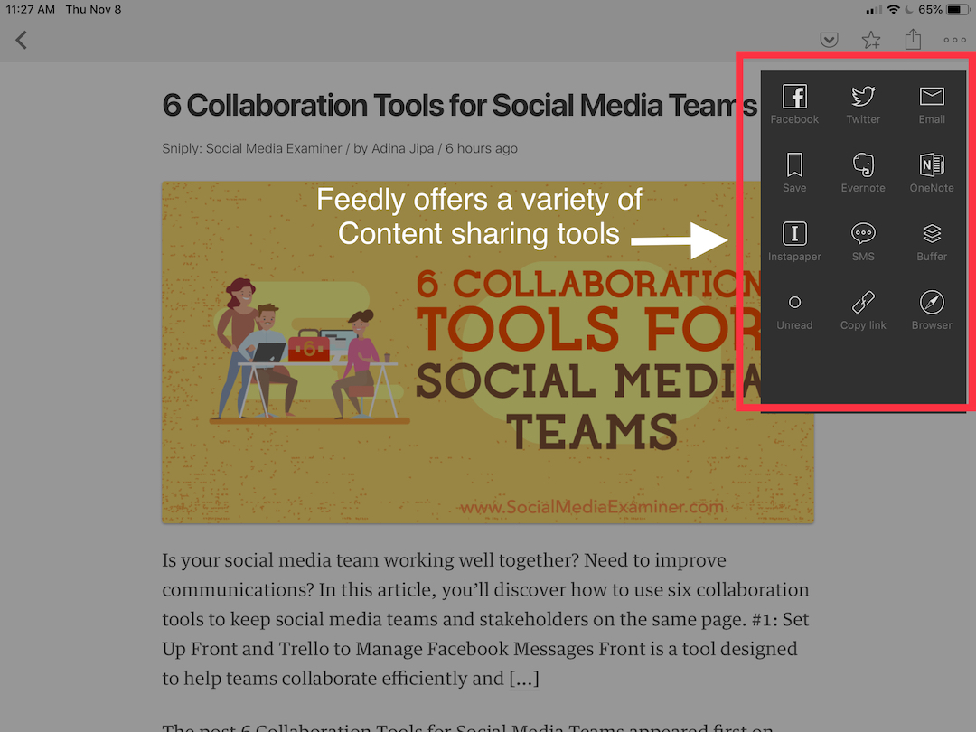 Feedlly content curation1