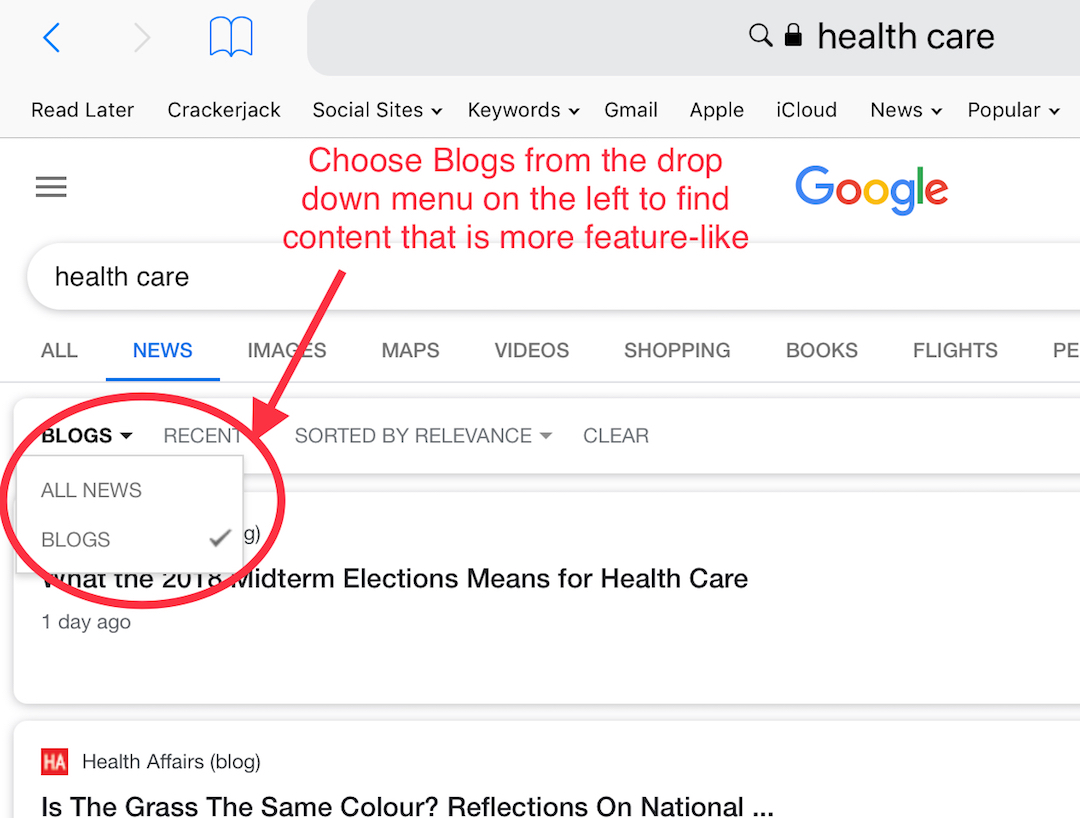 google search content curation