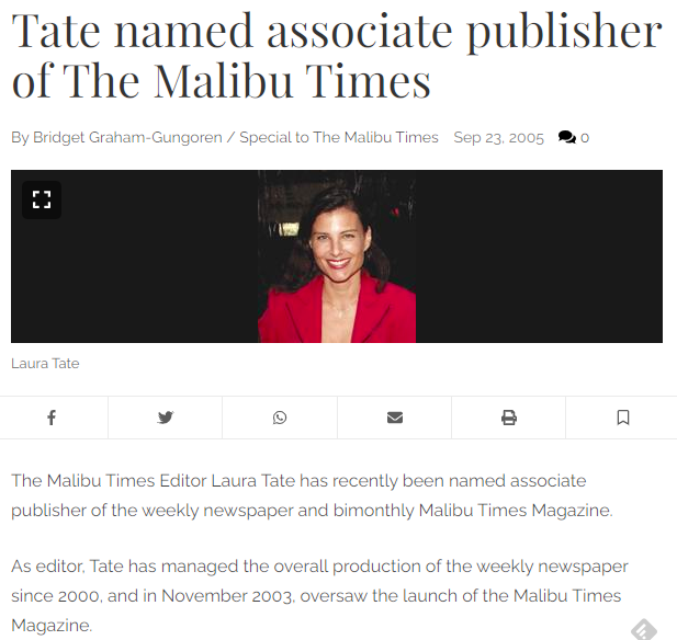 Laura Tate, former editor of The Malibu Times