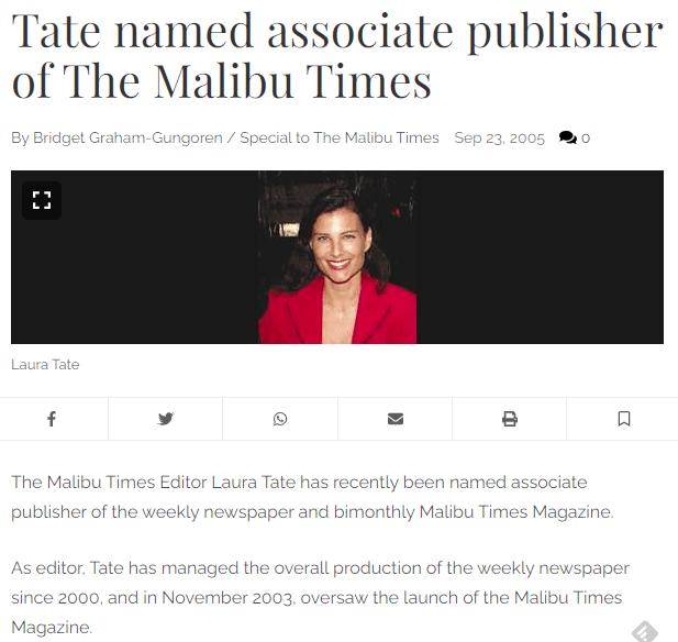 Laura Tate, former editor of The Malibu Times