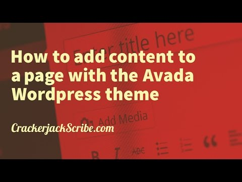 How to Add Content with the Avada Wordpress Theme | Video 1