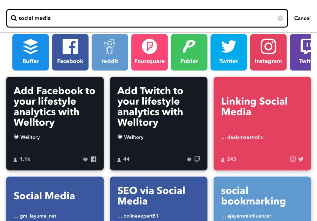 IFTTT social media app